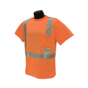 Ansi Hi Vis Reflective Safety T Shirt For Man Airport Traffic Roadway Security Safety Shirts With Short Sleeves Guard Work Wear