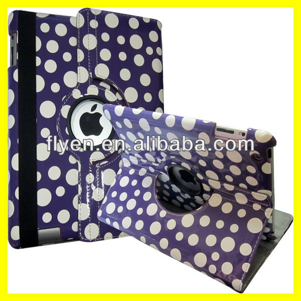 Polka Dots Rotating Leather Case for iPad 4 3 2 Magnetic Smart Cover Wholesale Cheap Lot Customzied Cases Covers for ipad Purple