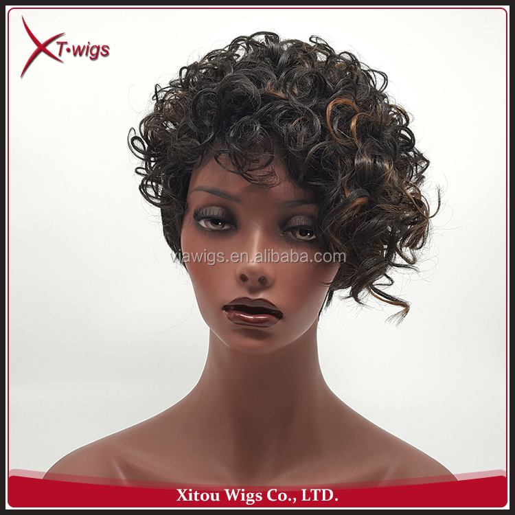 Cheap African American Woman Short Synthetic Full Lace Wigs
