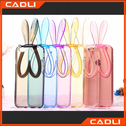 2016 new arrival rabbit ear stand holder clear tpu case for iphone 6 6plus mobile phone back cover suit many models