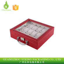 Luxury Design Red PU Leather Watch Display Box,Packaging Box OEM And ODM Are Available