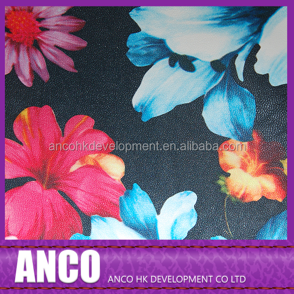 Fashionable floral printed anti-slip PU synthetic leather for bags