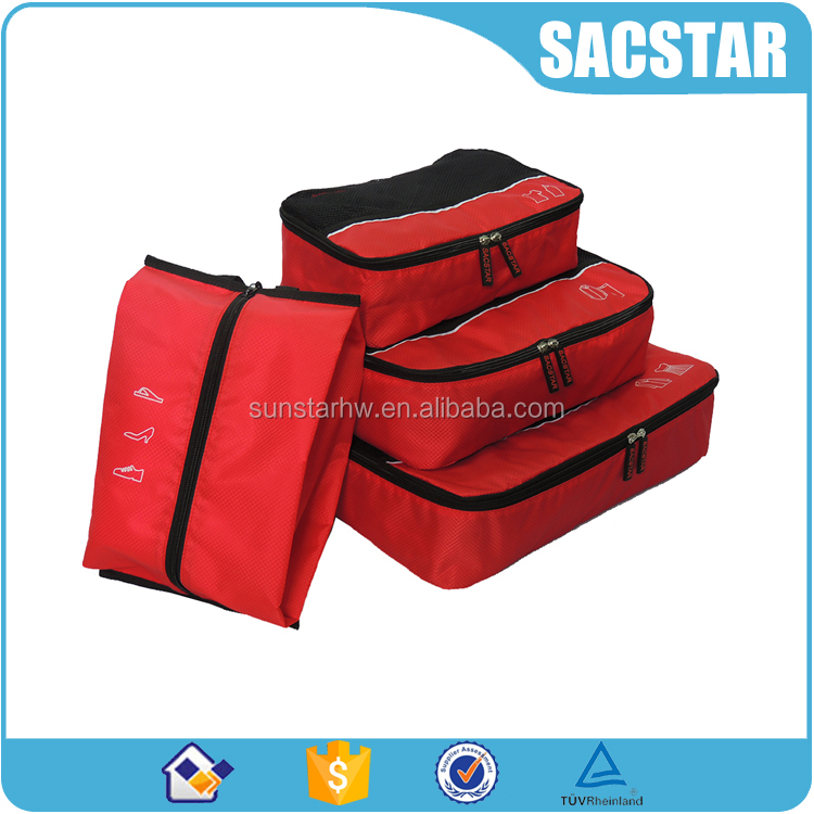 Ripstop nylon clothing and shoes stroage bag 4pcs packing cubes for <strong>travel</strong>