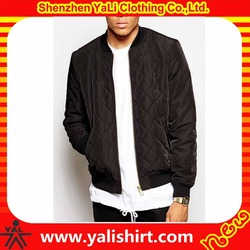 Wholesale durable mix size blank waterproof ribbed collar nylon/polyester winter diamond quilted flight jacket for men