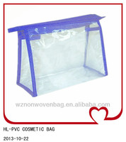 clear PVC bag with non-woven piping zipper bag
