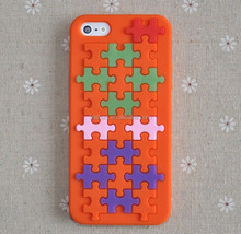 New Jigsaw puzzle Silicone Soft back Case For iPhone4/5