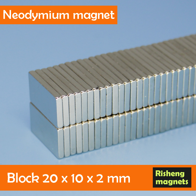 Strong block 20mm Neodymium magnet 20x10x2mm magent multipoles magnetized magnet