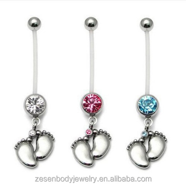 Wholesale PTFE Dangle Baby Foot Pregnant Belly Navel Button Ring Piercing Body Jewelry