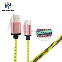 Hot Sale Gold Silk Nylon braided Micro USB cell phone Charging Cable cords for Android