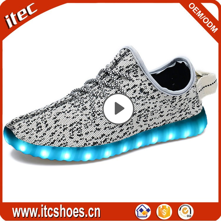 EM6002 Hot-sale Flyknit yeezy 350 USB chargeable led light up luminous <strong>shoes</strong>