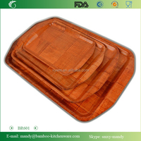 Painted Wooden WovenTray, Griped wood tray