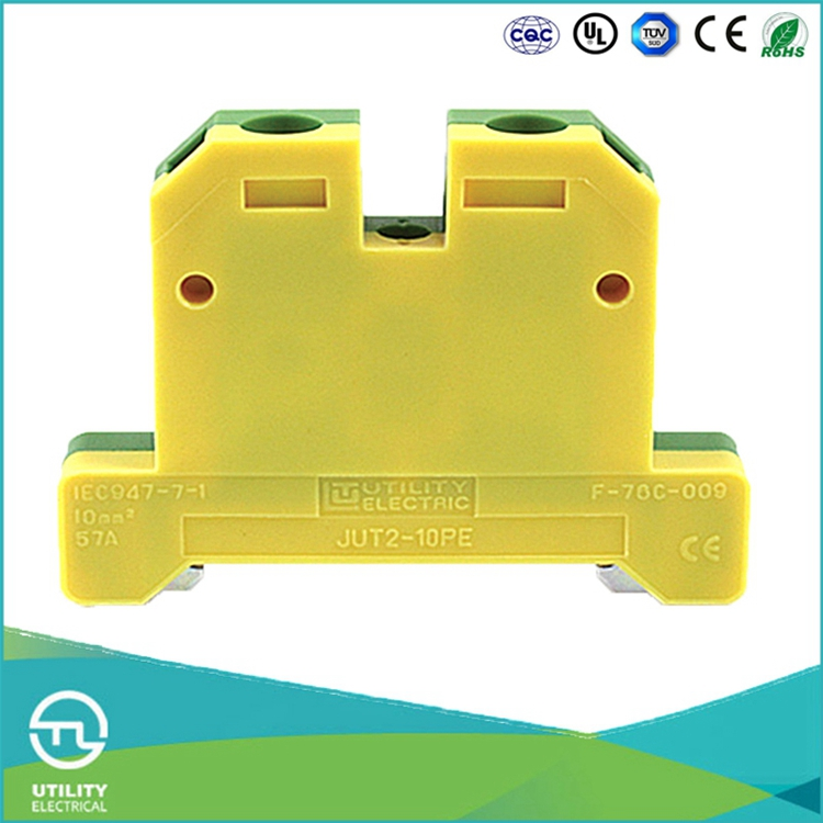 UTL Yellow Green Combination 10mm Terminal Waterproof Electric Earth Ground Screw Terminal Blocks