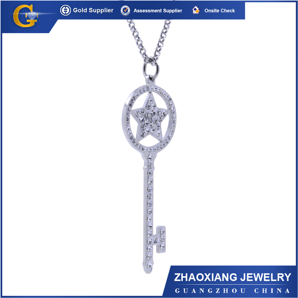 OPC019 china jewelry wholesale low price 316L stainless steel opal jewllery star key chain pendant with crystal