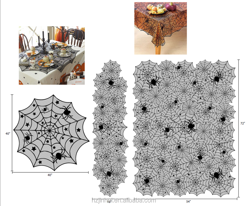 New Halloween Spider Black Lace Table Runner And Lace Table Topper Black table cloth