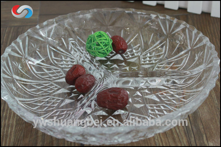 "9"" Cheap Round Clear Glass Plate, Glass Snack Dish"