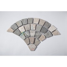 Samistone Cheap Culture Stone Yellow Slate Stone on Fanshape Mesh