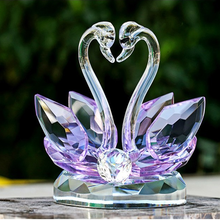 Transparent crystal swan figurine as crystal wedding anniversary gifts/useful crystal wedding gifts