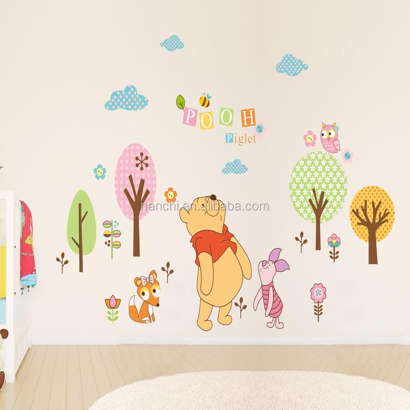 oso de dibujos animados y piglet tree pared pegatinas de habitaciones de beb nios habitaciones living