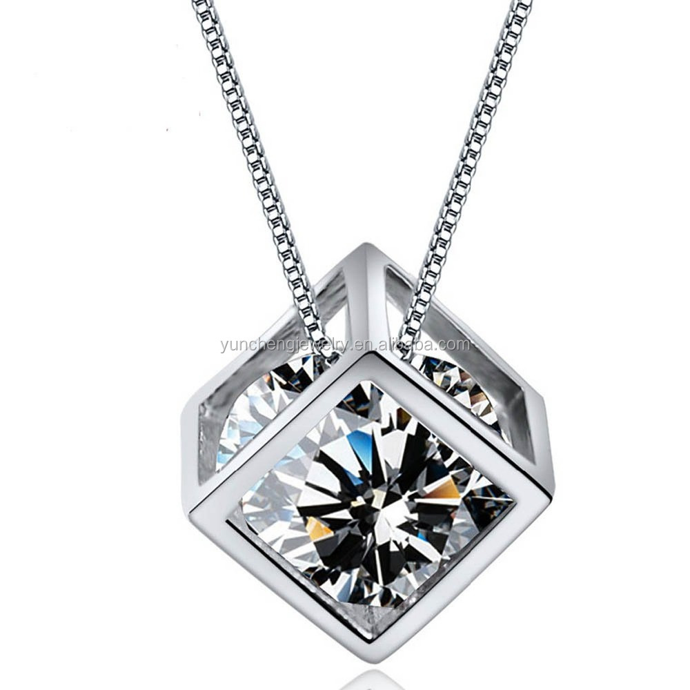 YCP7037 Square sterling silver big cz pendant for women