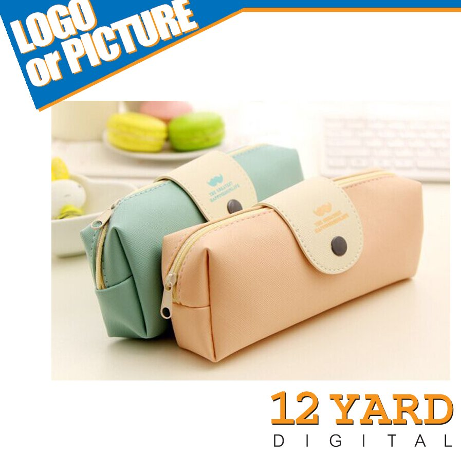 2016 high quality pure lovely button cover zipper pencil case for children school students office bag