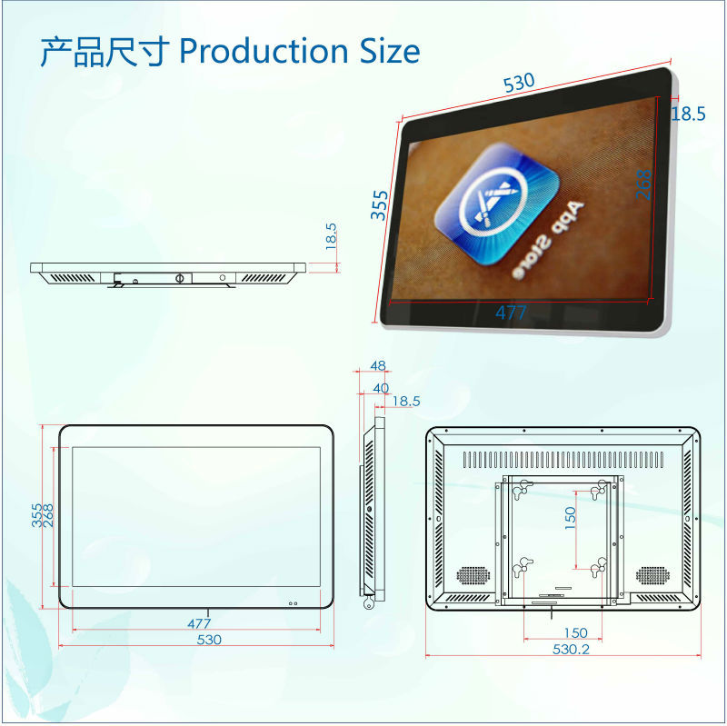 21.5 inch SH2103AIO All in One Network wall mounted wifi 3G WLAN advertising display tablet pc