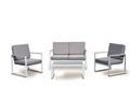 Powder coated stainless steel sofa set with mesh fabric, plastic wood slat outdoor furniture