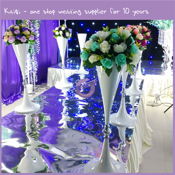 K7731 Kaiqi White mermaid flower walkway stand for wedding stage decoration