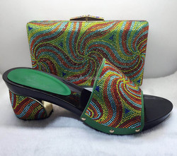 Latest Design Italian Matching Colorful Stones Shoe And Bag Set Green