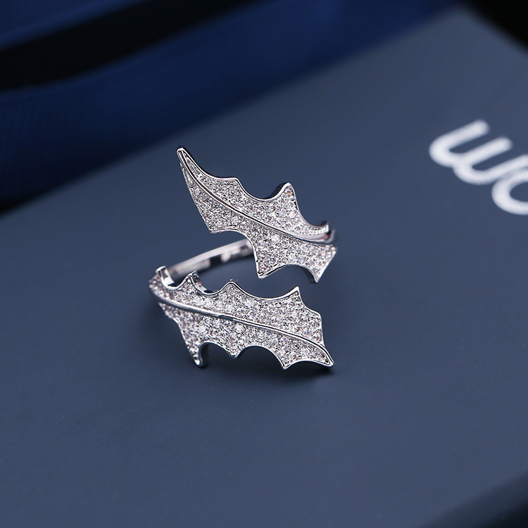 Korean Style Unique Design Micro Pave Cubic Zirconia Diamond Seaweed Leaf Adjustable Open Rings