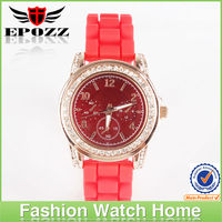 High quality promotional crystal mk silicone watch geneva strap wrist watches wholesale
