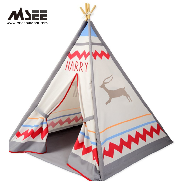 MSEE outdoor product 4 walls indian teepee pop up kids army play tent pink