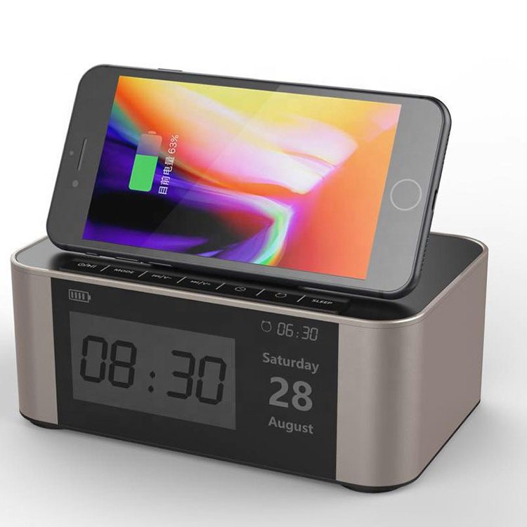 <strong>10</strong>/<strong>W</strong>/7.5W double trumpet wireless charger alarm clock sound speaker qi wireless charger for smartphone