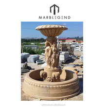 Outdoor garden water Yellow marble carved statue fountain