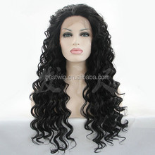 Wholesale synthetic pineapple wave natural color lace front wig