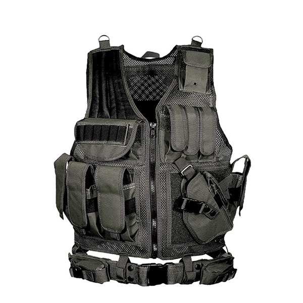 Adjustable Hunting Military Molle Style Tactical Vest with 10 Pouches and Pistol Holster