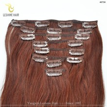 2015 Hot Selling Factory Wholesale Price No Tangle No Shedding clip in hair extensions rich copper red