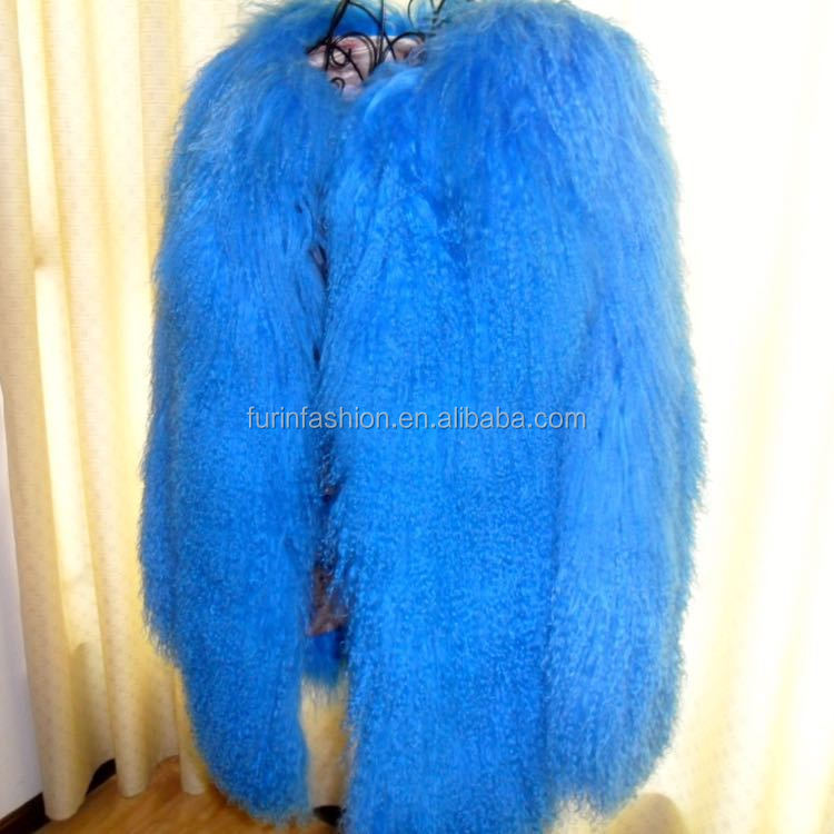Hot Selling Factory Direct Sale Dyed Bule Color Mongolian Lamb Fur Coat for Fashion Ladies