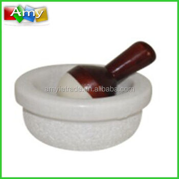 SM-W14 natural white marble mortar with wooden handle pestle