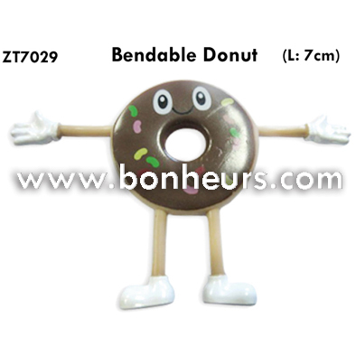 New Novelty Toy Plastic Fake Doughnut Bendable Donut