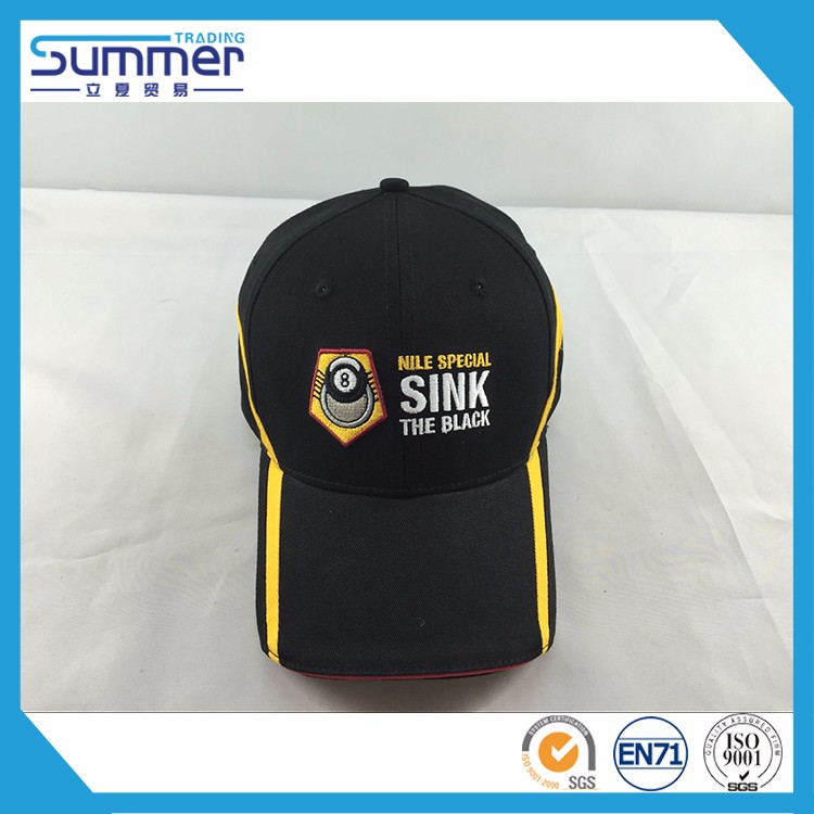 Sport custom 100% cotton striped black yellow color baseball hat