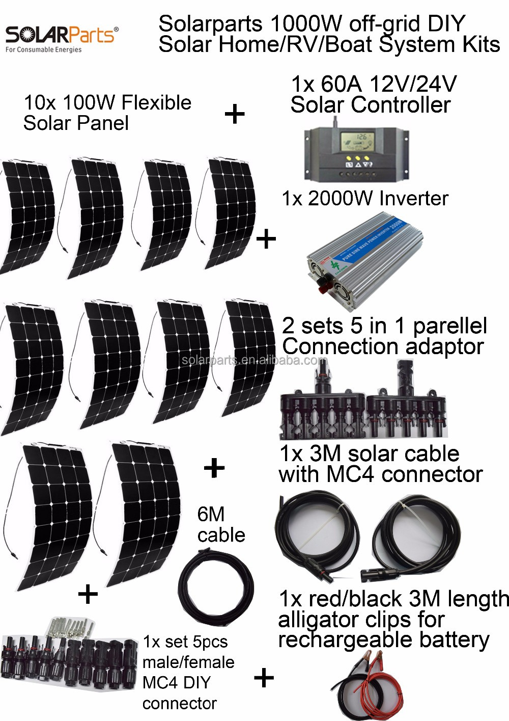 1000W flexible solar panel system for boats, yachts, marine