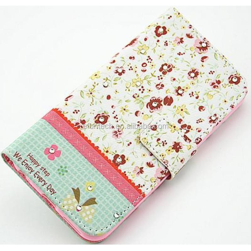 Shenzhen Factory OEM cute gril PU leather wallet flip cell phone case For samsung note3 note4 s5 s4 s3