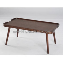 Wooden top rubber wood legs coffee table with oak veneer bentwood edge