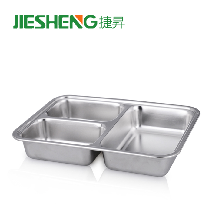 Hot cutlery stainless steel set divided metal dinner food tray