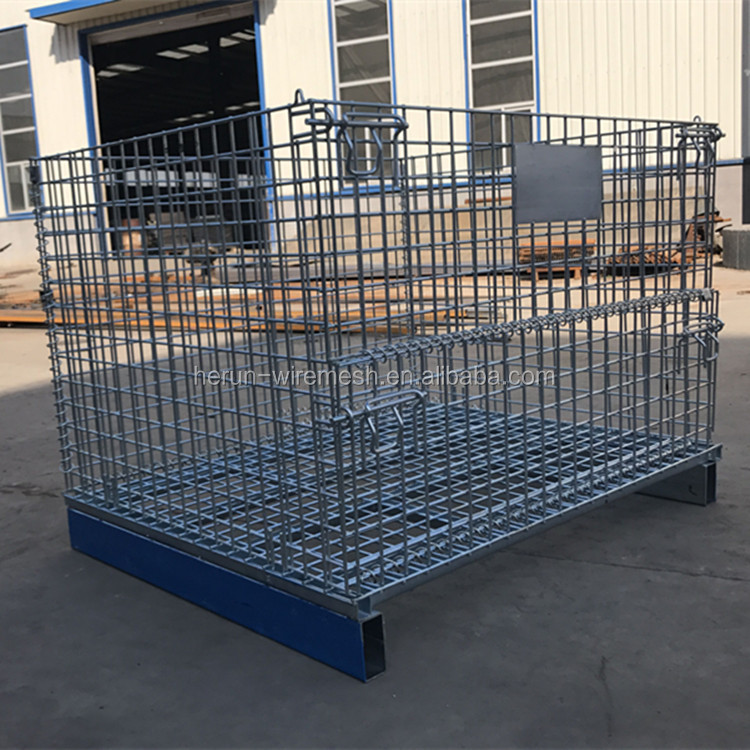 Foldable collapsible steel wire mesh storage cage/ wire mesh basket