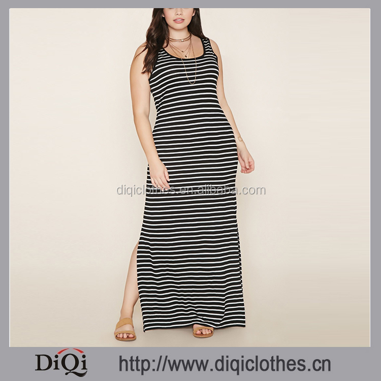 New Arrival Striped Fat Women Dresses Pictures Wholesale Price Plus Size Maxi Dress