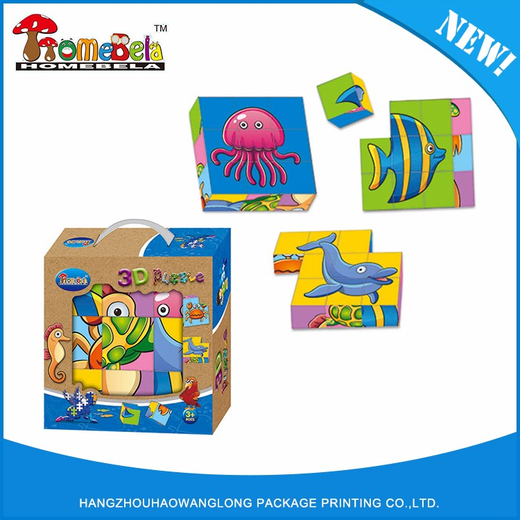 Hot sale promotional advertising custom 3d cubes paper puzzle