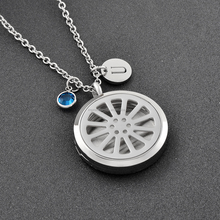 Wholesale Wheel Round Aroma Essential Oil Diffuser Perfume Necklace High Polished Car Diffuser Locket Stainless Steel Jewelry