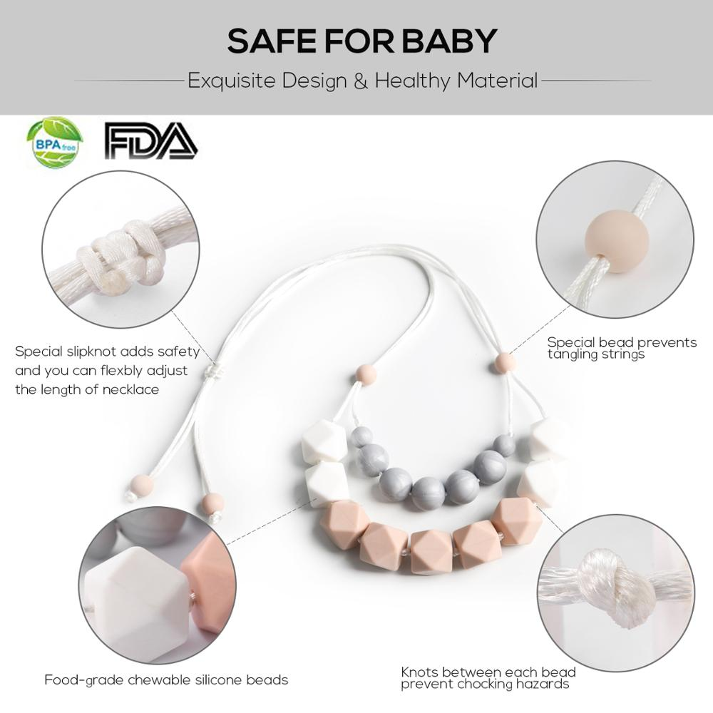 BPA Free Baby Teething Necklace Silicone Teether Pendant for Nursing Moms