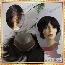 wholesale price stock swiss lace with PU Indian human hair wigs men's toupee